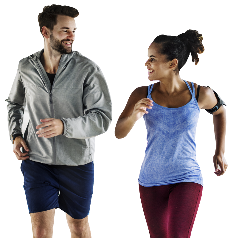 Photo of a couple running with in home personal trainer