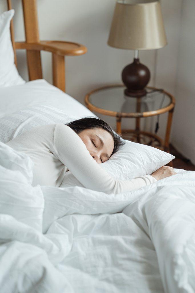 lady sleeping to destress